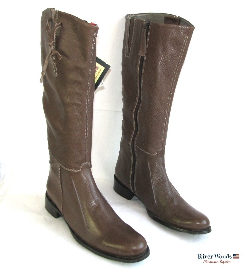 RIVER WOODS - RIDING BOOTS ALL BROWN LEATHER 39   40 - NEW