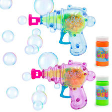 Friction Powered Bubble Gun Toy Light-Up Shoots Bubbles Fun Outdoor Activity