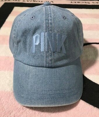 Victoria s Secret Pink Hat Denim Jean Blue Adjustable Baseball Cap - One  Size 750493b199c3