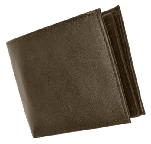 Brown RFID Blocking Mens Leather Bifold Wallet ID Card Center Flap