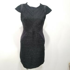 New-Kenneth-Cole-Size-4-Dress-Black-Metallic-Sheath-Short-Sleeves-Cocktail-Party