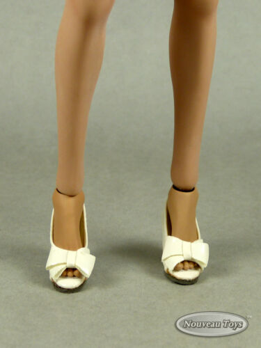 Kumik Hot Toys Female White Ribbon Heel Shoes NT Play Toy 1//6 Scale Phicen