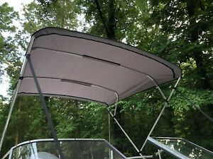Replacement-Bimini-Top-Canvas-with-boot-Grey-8-039-x-8-039-16oz-Lifetime-Warranty