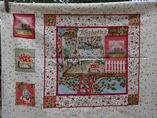 Bunnies in a Treehouse  100% Cotton Fabric Material NEW Off White Floral