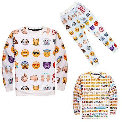 Fashion Mens Womens 3D EMOJI Sweatshirt T-Shirt Tops Jogger Pants Tracksuits Set
