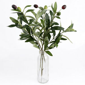 Details About 12 Artificial Olive Leaves Tree Branches Fruits Green Plant Home Decor