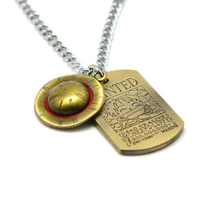 Anime-One-Piece-Luffy-Straw-Hat-Wanted-Necklace-Bronze-Metal-Pendant-Cosplay-A0