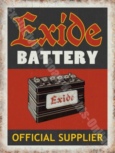Exide Battery 136 Old Vintage Garage Old Car Parts Advert, Large Metal Tin Sign