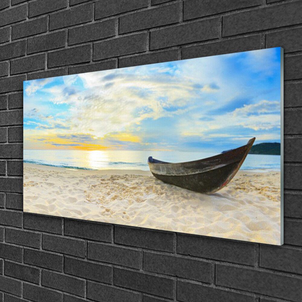 Tableau sur verre Image Impression 100x50 Paysage Plage Bateau