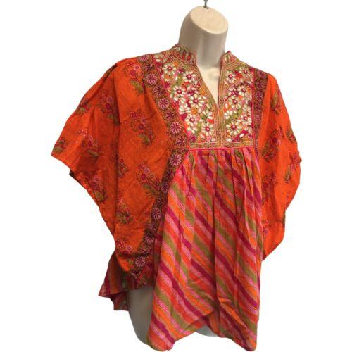 High value Ritu Kumar NWT 34 Top Cotton Embroidery Floral Gold Metallic Saffron Gorgeous  eb-c7rat6omj