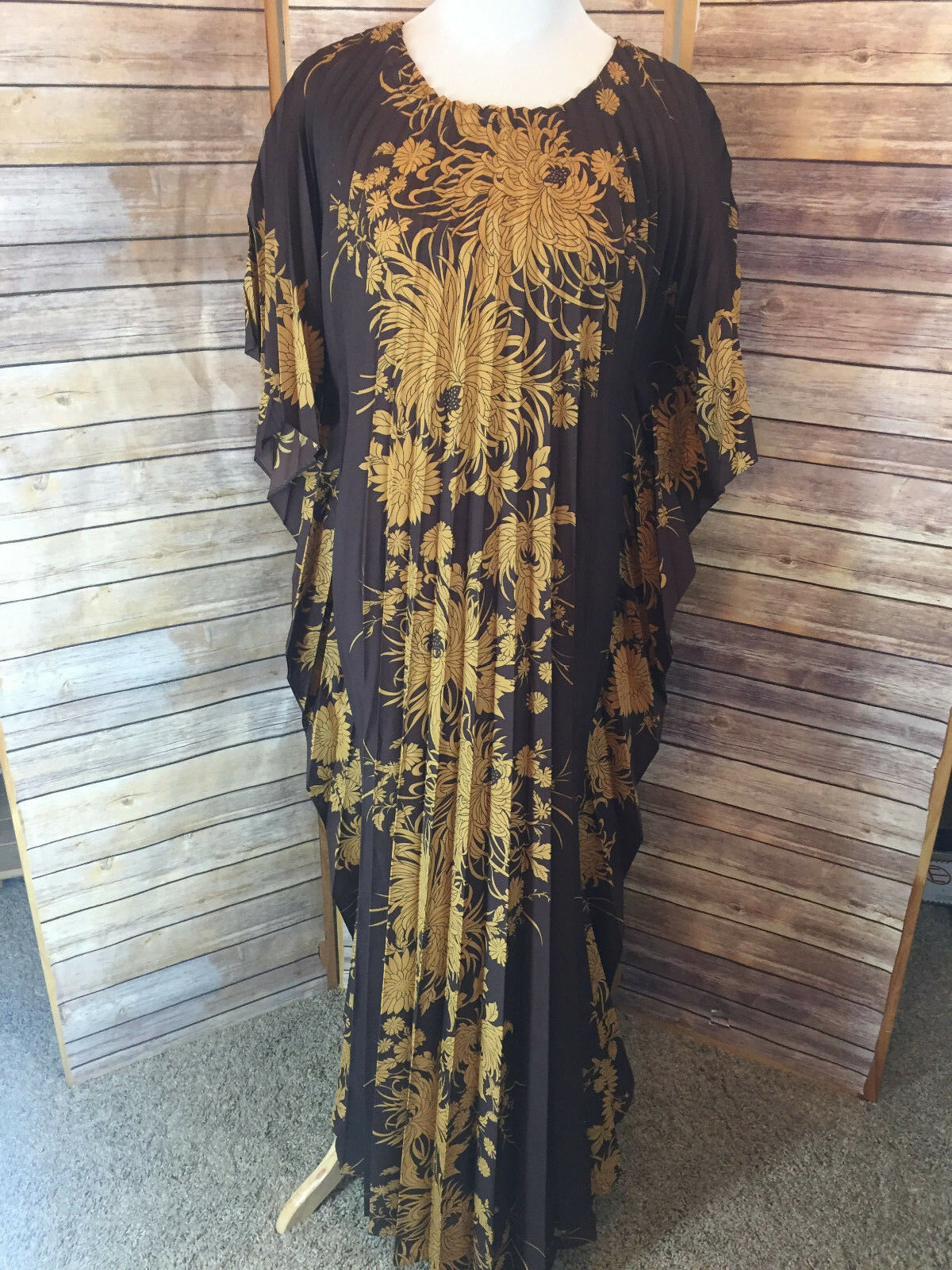 Sand Pebble of Hawaii Brown gold Floral Dress Full Maxi Muu Muu Flared