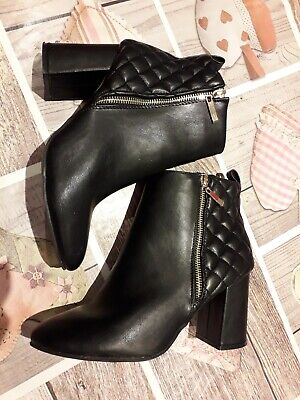 Black Quilted Leather Look Ankle Boots