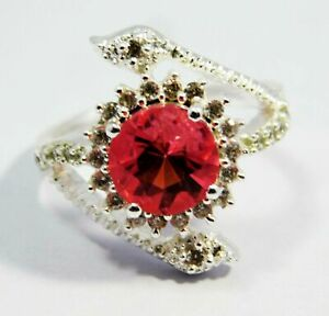 Certified Spinel For All Occasions Unique Design Silver Plated Ring SIZE 7