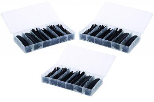 je 10cm Stücke 3x Sortiment Schrumpfschlauch SCHWARZ je Set 100-teilig mit Box