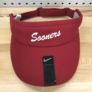 Oklahoma-Sooners-NCAA-College-NIKE-Sideline-Crimson-Red-Sun-Visor-NWT-Hat-NEW