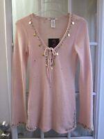Pout Beautiful Pink Long Sleeve Sweater Women M
