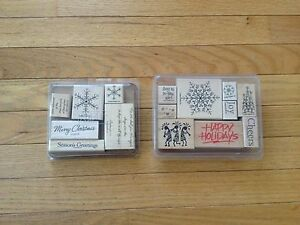 Stampin-039-Up-034-Christmas-and-Winter-Theme-034-Scrapbooking-Stamps-Lot-of-15-Stamps