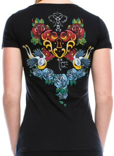 Vocal Top Size S M L XL Black Birds Tribal Roses Crystal Bling Womens Shirt New