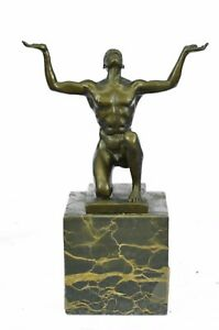 MODERNIST-ABSTRACT-BRONZE-MALE-NUDE-SCULPTURE-SIGNED-MID-CENTURY-MARBLE-BOOKEND