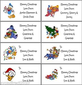 21 personalised disney christmas labels gift tags stickers