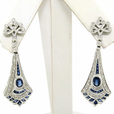 Vintage 18K White Gold 1.68ctw Sapphire & Diamond Drop Dangle Milgrain Earrings