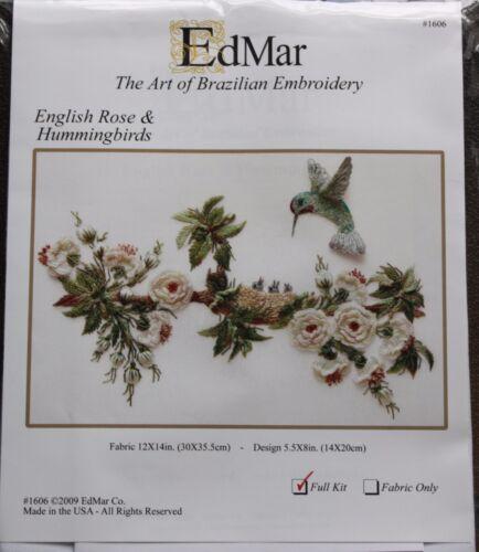 English Rose /& Humminbirds Brazilian embroidery kit #1606-EdMar//choose fabric