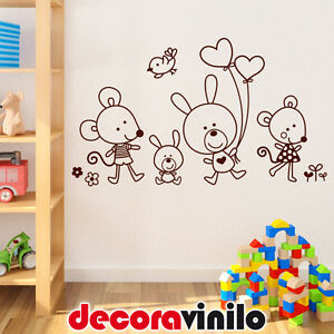 Vinilo decorativo pegatina pared infantil animales ratones for Vinilos decorativos pared infantiles