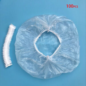100x-Disposable-Clear-Shower-Cap-For-Bathroom-Hat-Waterproof-Head-Cover-Plastic