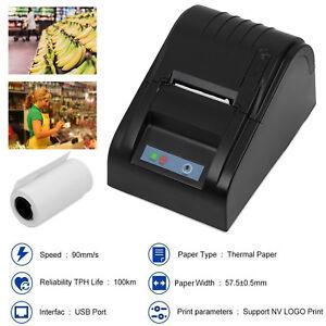 High Speed 58mm USB POS Cash Line Thermal Dot Receipt Printer Set Paper Roll 612520531669