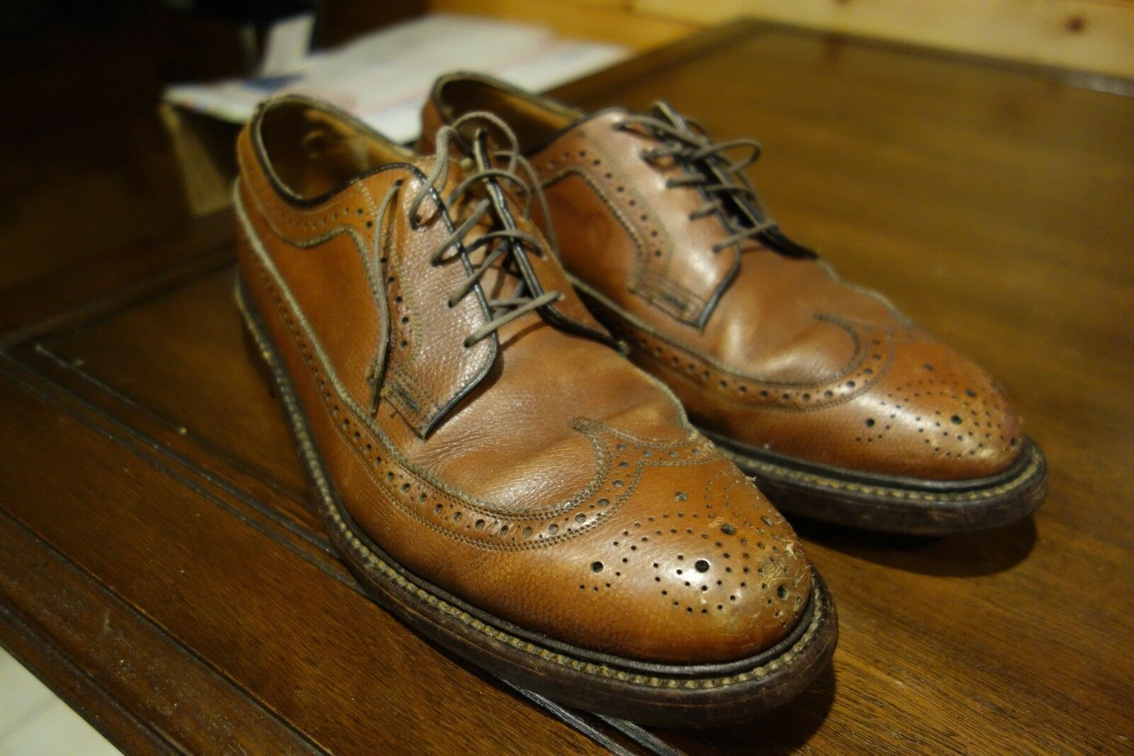 Florsheim Imperial 5 Nail Nail Nail V Cleat Brown Pebble Grain Long Wing Tip shoes 8.5 C 0188ce