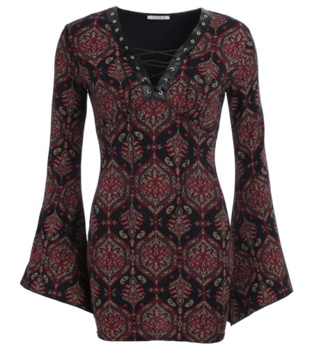 Black Lace Bell Print New Red Top Up And Sleeve Paisley UaxwpEq