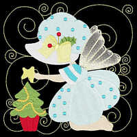 Christmas Sunbonnet Fairies - 36 Machine Embroidery Designs (azeb)