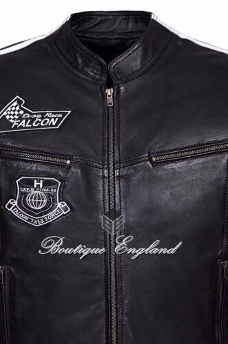 Men/'S Nuovo Nero Stile Biker Motociclista Moda Morbido Napa Giacca di pelle Rock Falcon