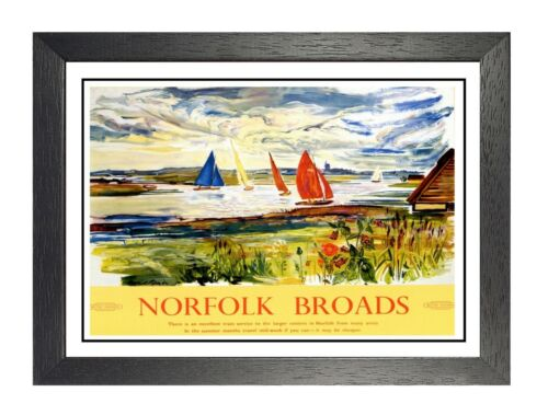 Norfolk Broads 3 Railway Old Advert Poster Rivers Lakes Photo Holiday Travel