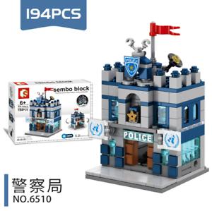 Gebäude Police Station Restaurant Bar Museum Blocks Spielzeug Bausteine LED
