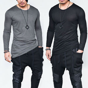 Men-Long-Sleeve-Crew-Neck-Casual-T-Shirt-Extended-Hip-Hop-Basic-Tee-Sweats-Tops