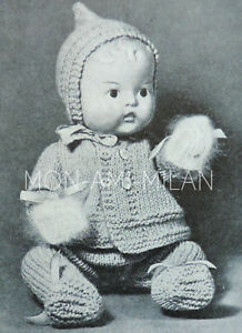 Image is loading 1920-30s-Knitting-Pattern-Copy-BABY-DOLLS-CLOTHES- f4a8344ff8e