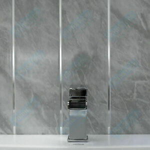 Details About Grey Marble Chrome Bathroom Panels Kitchen Ceiling Cladding Pvc Shower Wall