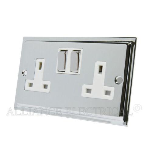 Slimline Polished Shiny Chrome Socket 2 Gang 13 Amp Double Plug Outlet Point