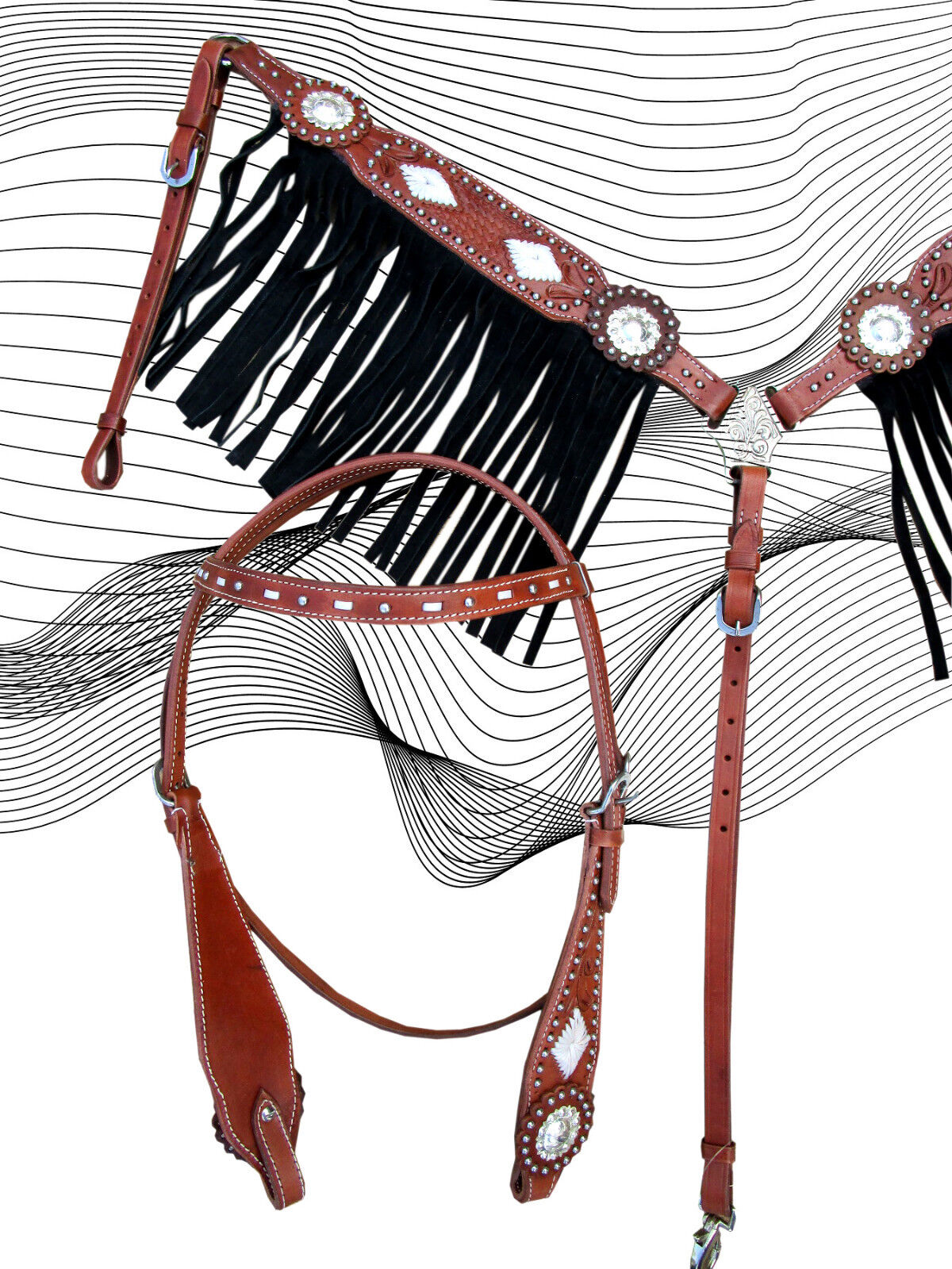BASKET WEAVE TOOLED WESTERN  HEADSTALL BREAST COLLAR SET BREASTPLATE BRIDLE  credit guarantee