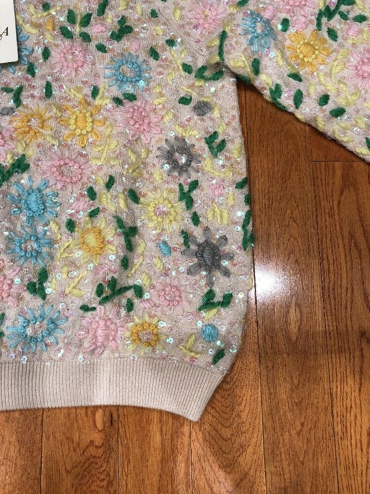 NWT   595 CANDELA VINTAGE INSPIRED INSPIRED INSPIRED SEQUIN EMBROIDERED CROPPED COTTON SWEATER M 7b513b