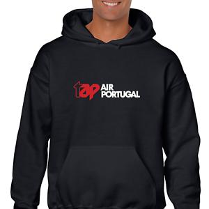 Tap Air Portugal Red White Logo Portuguese Airline Black Hoodie Sweatshirt
