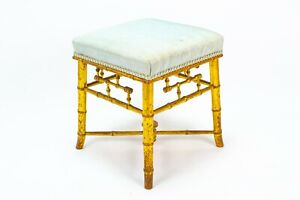 1870s Gilded Stool Bamboo Style Wood Aesthetic Design Antique Victorian Chair