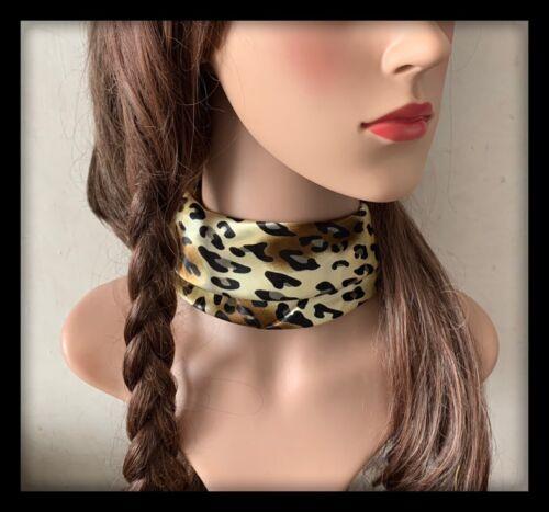 Animal Print Hair Band Headband Hairband Neck Scarf Bandana Satin Fabric Dress