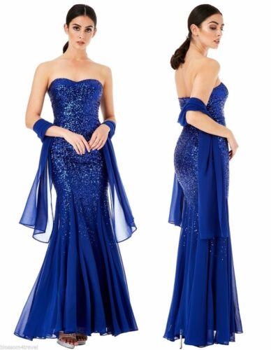 Goddiva Strapless Sequin Chiffon Inserts Maxi Dress-Wrap Bridesmaid Party 8-18