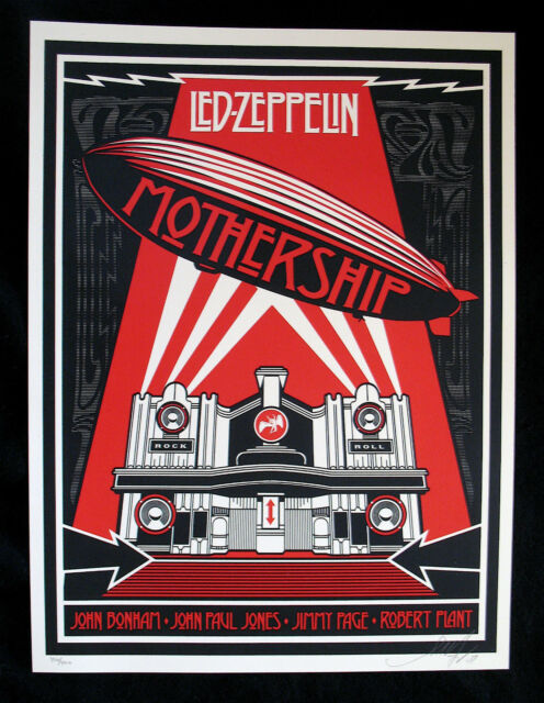 LED ZEPPELIN-SHEPARD FAIREY-MOTHERSHIP Rare Limited Edition #400/400 Signed-OBEY