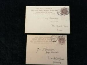 Grossbritannien-ab-1881-2x-alte-Postkarten-Ganzsachen-von-London-nach-Frankfurt