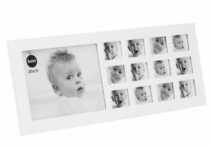 Baby MY FIRST YEAR Photo Frame - Multi PICTURE DISPLAY for 12 Months WHITE Wood