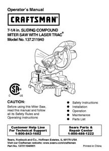 craftsman 137 211940 miter saw owners instruction manual ebay rh ebay com Old Craftsman Miter Saw craftsman 10 miter saw owner's manual