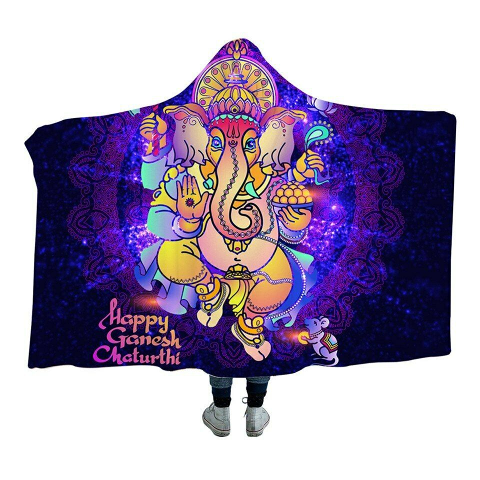 Ganesh Elephant Indian Lotus Kids Adults Sherpa Fleece Fur Hooded Blanket Throw
